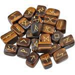 mookaitedecor Tigerauge Runen Steine Set (25 Stück) mit Geschenkbeutel, Trommelstein Edelstein mit schnitztem Runenzeichen für Wahrsagen, Kristall Heilung Reiki