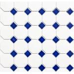 Mosaik Fliese Keramik blau Octagon weiß matt blau glänzend Wandfliesen Badfliese MOS13-OctaG464