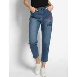 Blaue MOSCHINO Boyfriend-Jeans mit Knopf für Damen Größe S