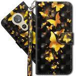 MRSTER Moto G6 Play Handytasche, Leder Schutzhülle Brieftasche Hülle Flip Case 3D Muster Cover mit Kartenfach Magnet Tasche Handyhüllen für Motorola Moto E5 / Moto G6 Play. YX 3D - Golden Butterfly