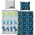 MTOnlinehandel Bettwäsche »Fortnite Bettwäsche 135x200 + 80x80 2 tlg., 100 % Baumwolle, Dance Figuren Battle Royale für Kinder, Teenager, Jugend Decke«, blau