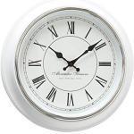 mucHome Vintage Wanduhr weiß Durchmesser 40cm mit römische Ziffern Echtglas-Scheibe Küchenuhr Uhr