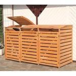 Mülltonnenbox für 3 Tonnen honigbraun, H 122 x B 219