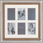 Multi-Bilderrahmen dunkler Holzfarbton 50 x 50 cm für 6 Fotos 10 x 15 cm Collage Klassisch Elegant Wohnzimmer Schlafzimmer Eingangsbereich