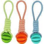 Multifunktions-Haustierspielzeug Leckfutter Zähne Reinigung Hundebiss Spielzeug Haustier Molar Braid Rope Ball Kauball (3 Stück Mischfarbe)