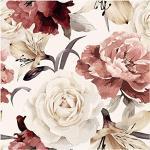 murando Vlies Tapete Blumen - Deko Panel Fototapete Wanddeko 10 m Tapetenrolle Mustertapete Wandtapete modern design Dekoration - Rosen Pfingstrosen b-C-0245-j-a