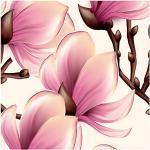 murando Vlies Tapete Blumen Magnolien - Deko Panel Fototapete Wanddeko 10 m Tapetenrolle Mustertapete Wandtapete modern design Dekoration - violett beige braun b-B-0314-j-a