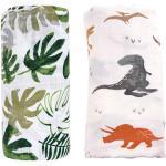 Musselin Decke Swaddle Pucktücher aus Puckdecken - (2 Stück, Dinosaurier & Tropische) Bambus Baumwolle Baby Einschlagdecke, Spucktücher - weiche Baby Decken für Junge (Dinosaurier & Tropische)