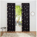 my home Gardine Blackout Curtain With Foil Print Star schwarz Kräuselband Gardinen nach Aufhängung Vorhänge