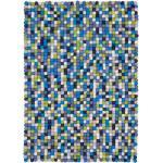 myfelt Filzkugelteppich Fritz mehrfarbig blau/grün reckteckig 140 x 200 cm