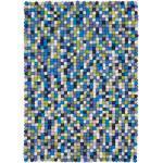 myfelt Filzkugelteppich Fritz mehrfarbig blau/grün reckteckig 50 x 70 cm
