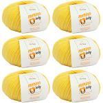 MyOma Baby Wolle - Merino Baby vanille (Fb 6015) - 6 Knäuel Babywolle gelb + GRATIS Label – Babywolle flauschig - 25g/140m – Nadelstärke 2,5-3mm – Baby Garn Merino - Merino Wolle Baby Stricken