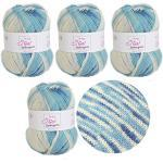 MyOma Sockenwolle Sockengarn Go Wolke (Fb 322) - 4 Knäuel Blaue Sockenwolle – Sockenwolle 4fädig – Nadelstärke 2,5 –3mm – Socken Wolle 100g – Wolle Socken Stricken – Wolle zum Socken Stricken