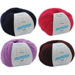 MyOma Wollpaket Merino Mix Wollmix Waldbeere S - Merinowolle Merino Mix zum Häkeln und Stricken – Merino Garn Merino Mix im Wollset - bunter Wollmix (4 Knäuel, je 50g/125m) + Gratis Label