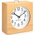 Navaris Wecker Analog Holz Wecker mit Snooze - Retro Uhr im Viereck Design mit Ziffernblatt Alarm - Leise Tischuhr ohne Ticken - Naturholz, braun