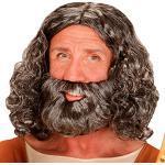 NET TOYS Hochwertige Jesus-Perücke mit Bart - Grau - Herrschaftliches Männer-Kostüm-Zubehör Cosplay-Perücke Gottheit - Bestens geeignet für Karneval & Weihnachten