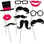 NET TOYS Photo Booth Props Bart Fotorequisiten Hochzeit 10 TLG. Foto Accessoires Partyfotos Fotobox Requisiten Moustache