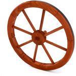 Nexos Holzrad Wagenrad Dekorad Holz Wagen Deko Rad mm rot braun Gartendeko (450 mm)