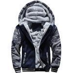 NINGSANJIN Jacke Herren Steppjacke Winterjacke Parka Übergangsjacke Herrenjacke Jacket Warme Gefütterte Hooded Mit Kapuze Baumwolle Reißverschluss Dicke Sweatjacke Outwear Coat (Blau,XX-Large)