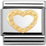 Nomination 030116 19 Classic LOVE Edelstahl + 18K-Gold - Herz mit Kügelchen