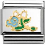 Nomination 030285 37 - Classic MADAME ET MONSIEUR - WASSERBLAU Rosen Bouquet - Emaille + Gold