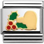 Nomination Classic CHRISTMAS BICOLOR + Emaille - Herz mit Stechpalme - 030225 23