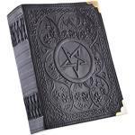 Notizbuch mit Pentagramm-Muster, Schwarz, ca. 23 x 18 cm - echtes Leder - Tagebuch - Lederbuch - handgeschöpftes Papier ca. 480 Seiten - Mittelalter - Wikinger - LARP