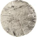 Novel FELLTEPPICH , Grau, Silber , Uni , rund es Vertrauen - OEKO-TEX® , für Fußbodenheizung geeignet, pflegeleicht , Teppiche & Böden, Teppiche, Fellteppiche