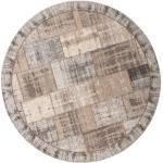Novel FLACHWEBETEPPICH , Grau, Beige , Patchwork , rund , in verschiedenen Größen erhältlich , Teppiche & Böden, Teppiche, Runde Teppiche