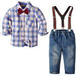 Nwada Jungen Gentleman AnzüGe 4 StüCk Langarm Fliege Hemd HosenträGer Hosen Jeans Kleinkind Junge Herbst Outfits Blau 4 Jahre