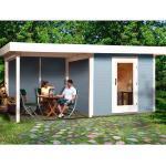 OBI Garten Holz-Gartenhaus/Gerätehaus Florenz B Gr. 3 Grau-Weiß BxT: 530x240 cm davon 295 cm Terr.