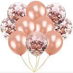 Oblique-Unique® Konfetti Luftballon Set für Geburtstag Feier Jubiläum Hochzeit JGA Party Ballons Champagner Transparent