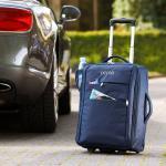 Oconi Falt-Trolley, Kabinengepäck, RFID-Schutz, Teleskopgriff, Leichtlaufrollen, 36 x 50 x 20 cm, dunkelblau