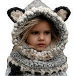 Odziezet Kinder Wintermütze Strickmütze Unisex Schalmütze Winter Wollmütze Fuchs, Farbe: Grau, Size One size