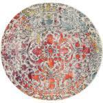 Ø 150 Runder Teppich Kaleidoscope Moderner Medaillon Hellgrau/Dunkelbraun