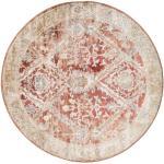 Ø 150 Vintage Teppich Talitha Orientalischer Rund Dunkelbraun/Hellgrau