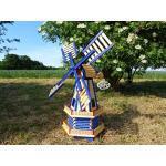 ÖLBAUM XL Windmühle wetterfest, kugelgelagert, Garten-Windmühle 100 cm, zweistöckig MIT 2 BALKONEN, Garten windmühlen, Windfahne/Windrad o. SOLAR o. Außenbeleuchtung WMH100bl-OS 1 m groß blau Mitte