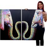Ölgemälde 100% handgemaltes Wandbild Leinwand Keilrahmen XL, Pop Art Tiere