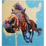 Ölgemälde Pferd, 100% handgemaltes Wandbild 3D-Bild Gemälde XL, 100x90cm