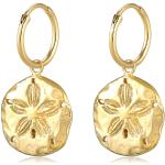 Ohrringe 925 Sterling Silber Blume, Creole in Gold