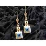 Ohrringe Gold 585 Ohrhänger Blauer Topas & Zirkonia