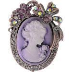 Old Style Kristall Strass Cameo Maiden Blumen Band Bogen Brosche