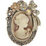 Old Style Kristall Strass Cameo Maiden Flower Ribbon Schleife Pin Brosche