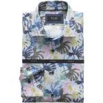 Blaue OLYMP Leinenhemden mit Knopf für Herren für den Sommer