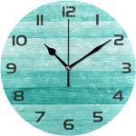 One Bear Vintage Teal Wanduhr, batteriebetrieben, nicht tickend, rustikal, türkis, grüne Holztextur, leise, runde Uhren für Bauernhaus, Badezimmer, Küche, Dekor