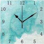 One Bear Vintage Teal Wanduhr Türkis Grün Aquarell Textur leise nicht tickend batteriebetrieben quadratische Uhr für Küche Zuhause Büro Schule leise Schreibtisch 20 cm