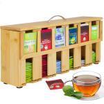 ONVAYA Teebox »Teebox aus Holz, Teekiste mit 6 Fächern, Teebeutelbox für ca. 200 Teebeutel, Tee Aufbewahrungsbox, Teebeutelspender aus Bambus