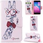 Ooboom® Huawei Y6 Pro 2017 Hülle Flip PU Leder Schutzhülle Tasche Case Cover Wallet Standfunktion mit Kartenfächer Bargeld Aussparrung für Huawei Y6 Pro 2017 - Giraffe