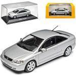 Opel Astra G Coupe Silber 1998-2005 1/43 Minichamps Modell Auto mit individiuellem Wunschkennzeichen