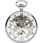 Open Face Skeleton Pocket Watch 17 Jewelled Mechanical Chromed Case - Gift Box